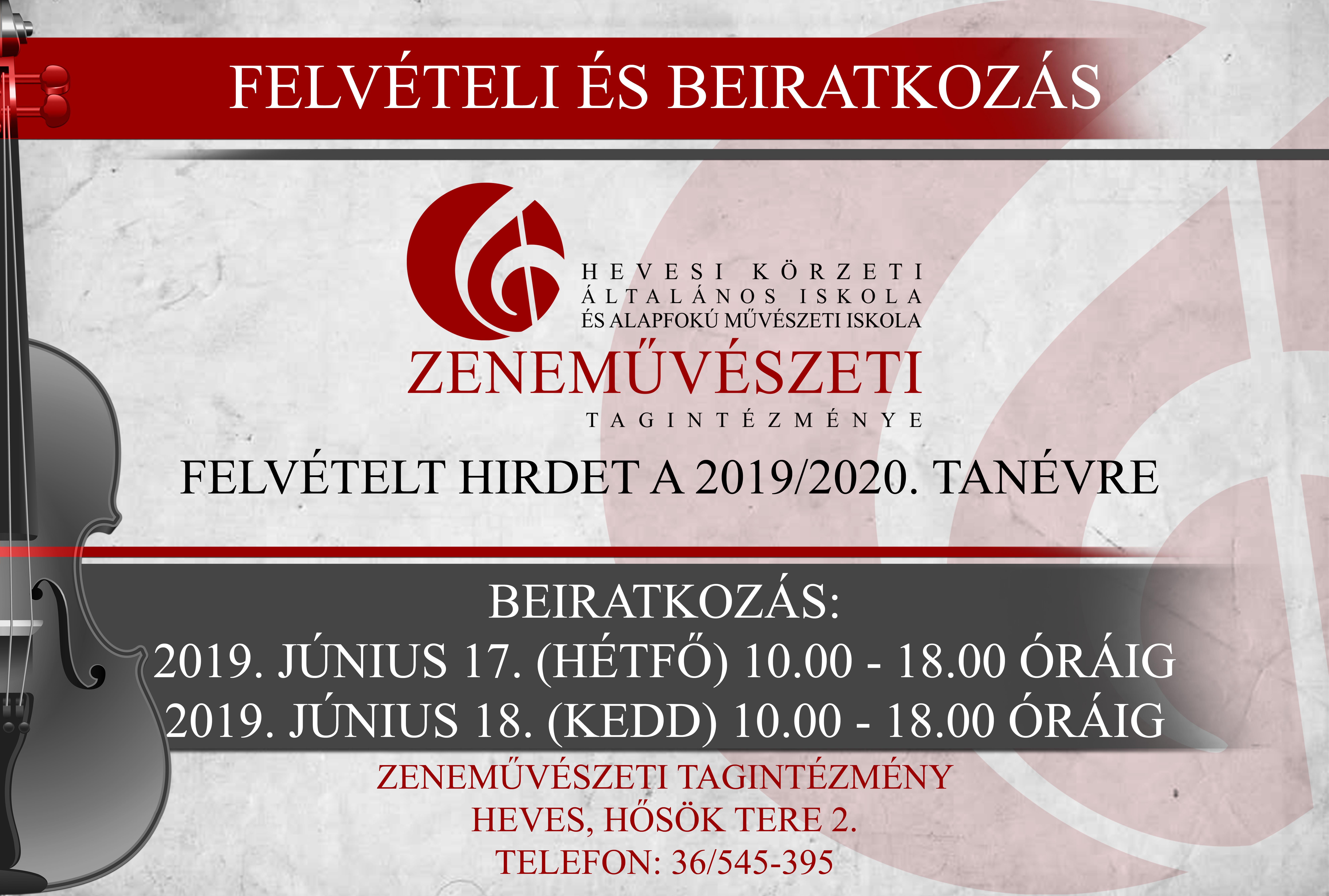 ZENEISKOLA BEIRATKOZÁS 2019 JÚNIUS